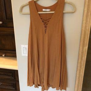 Tan LUSH dress with criss cross top